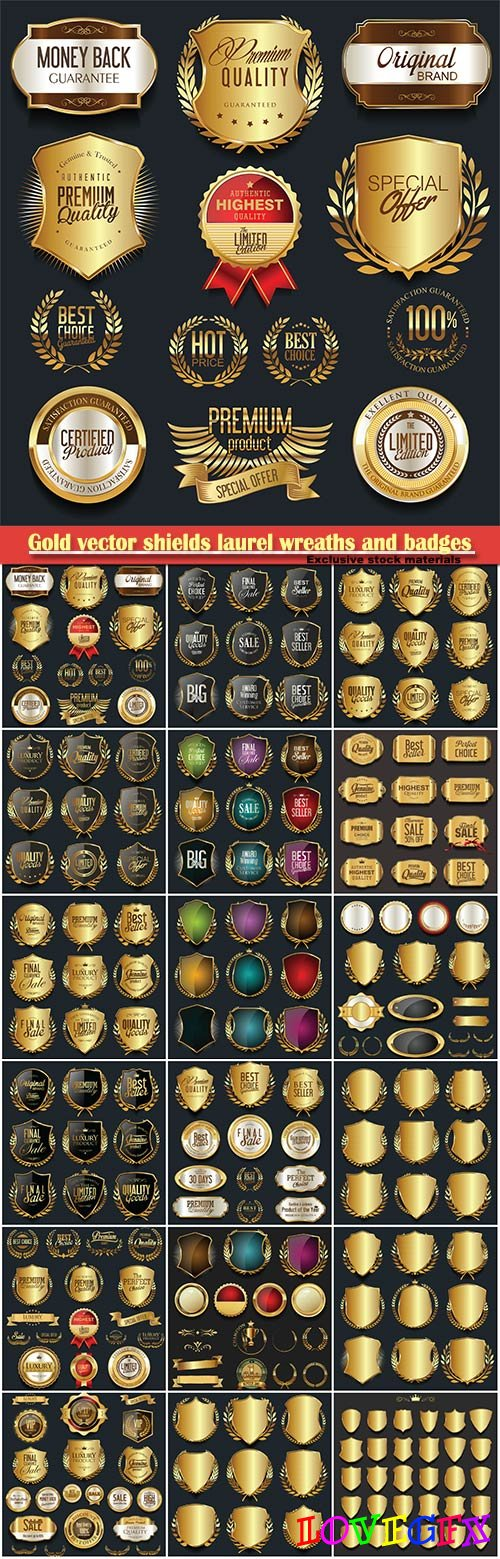Gold and silver vector shields laurel wreaths and badges collection