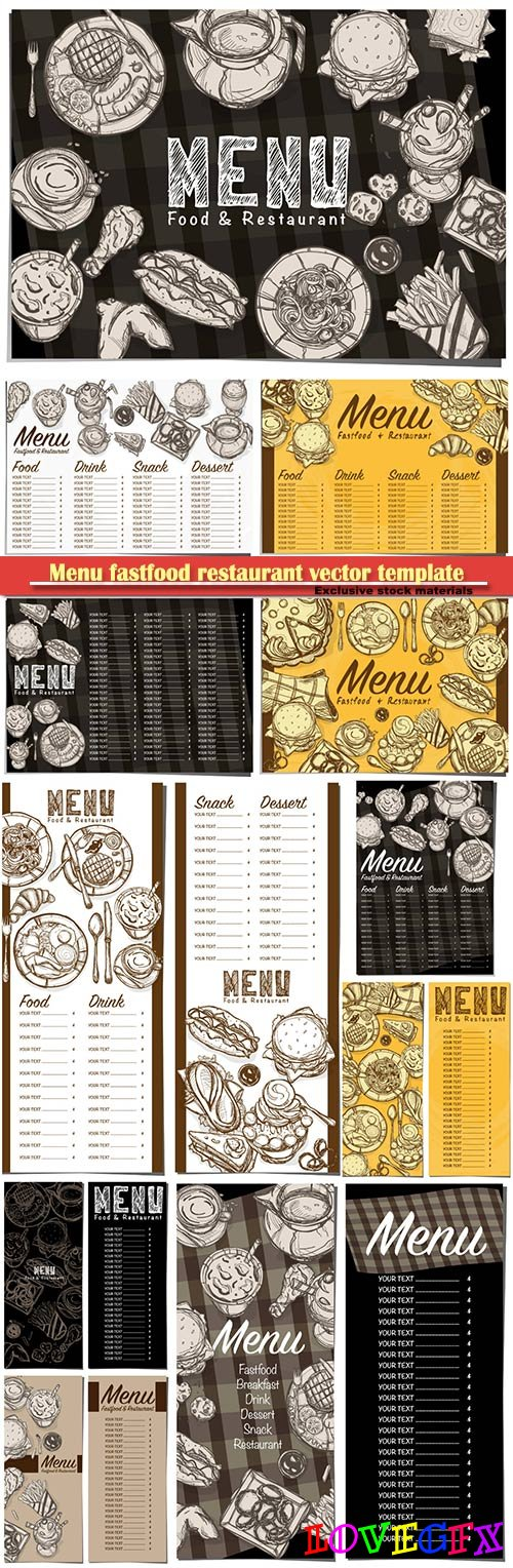 Menu fastfood restaurant vector template design hand drawing graphic