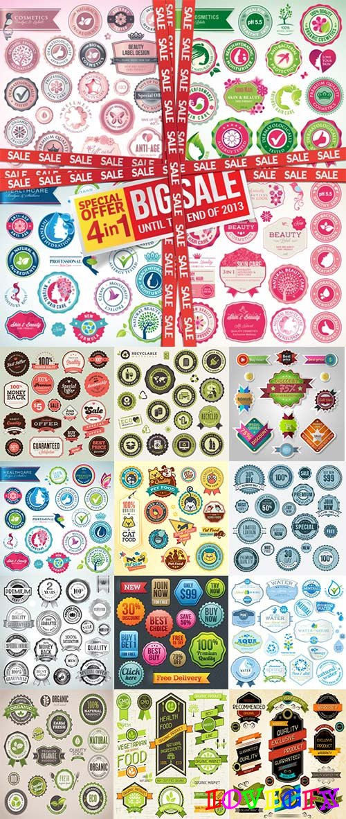 Different Labels & Stickers - 30 Vector