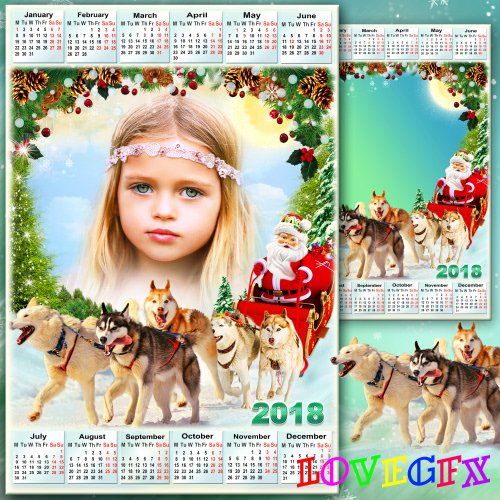 Winter calendar with frame for photo - Santa Claus with gifts is coming to us