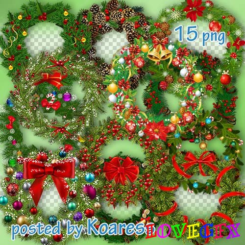 Winter png clipart for design - Christmas wreaths