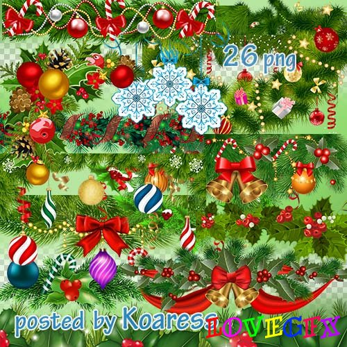 Winter png transparent clipart - Christmas garlands and borders