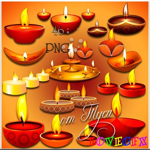 We light candles - Clipart