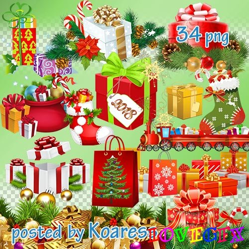 Winter png clipart for Photoshop - Christmas, new year gifts and decoration