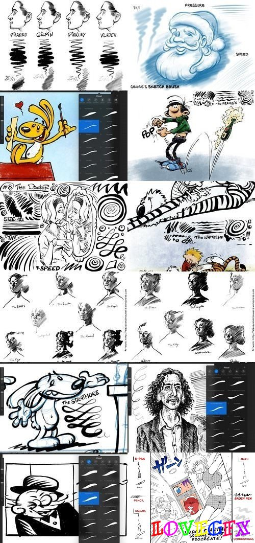 80+ INK, PEN & SKETCH Brushes Bundle 1393089