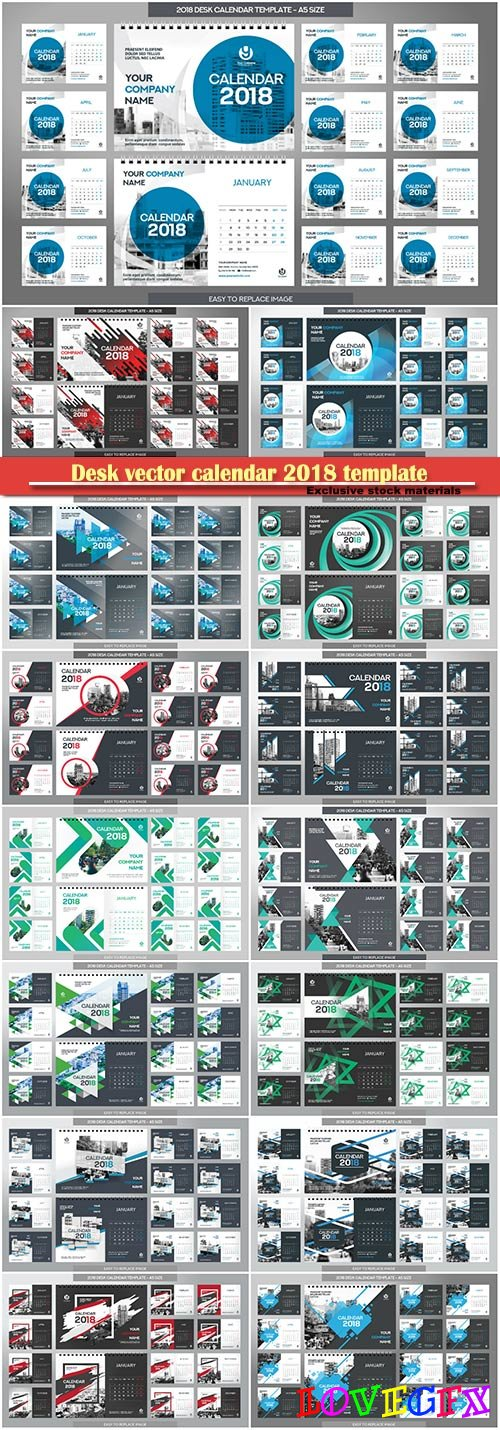 Desk vector calendar 2018 template, 12 months included