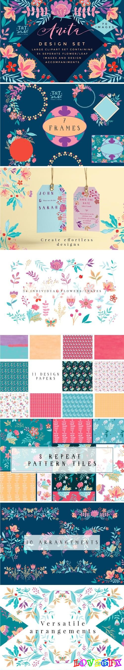 Handpainted Floral Clipart Set Anita - 1432244