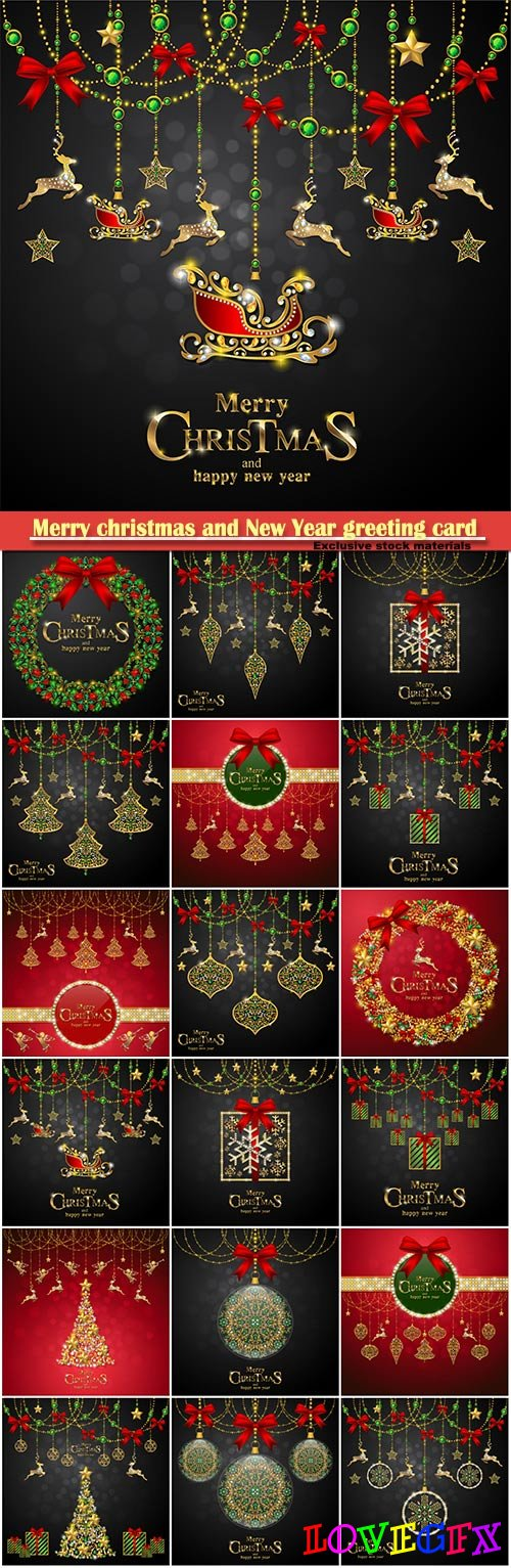 Merry christmas and New Year greeting card vector # 16