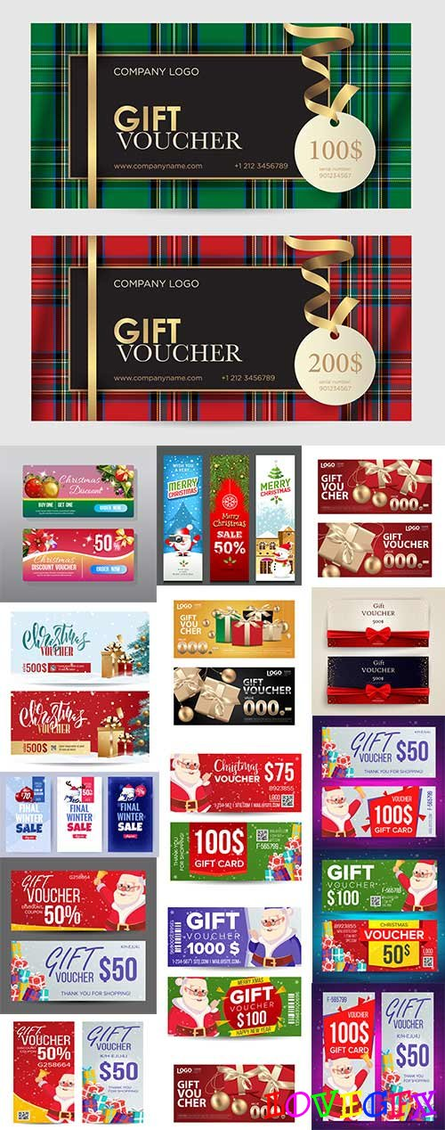 Christmas gift voucher with Santa modern template
