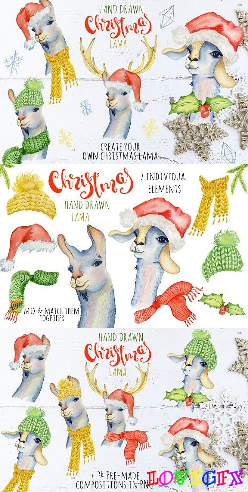 Christmas lama watercolor creator 1 - 2078150