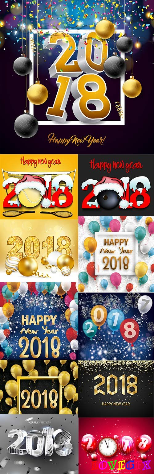 Happy Christmas and New Year holiday 2018 design 2