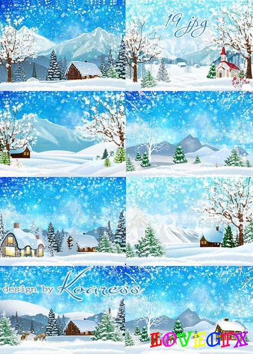 Set of raster winter backgrounds for Photoshop - Snowfall