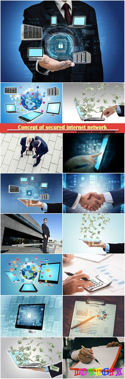 Concept of secured internet network, business cooperation concept , business man and woman