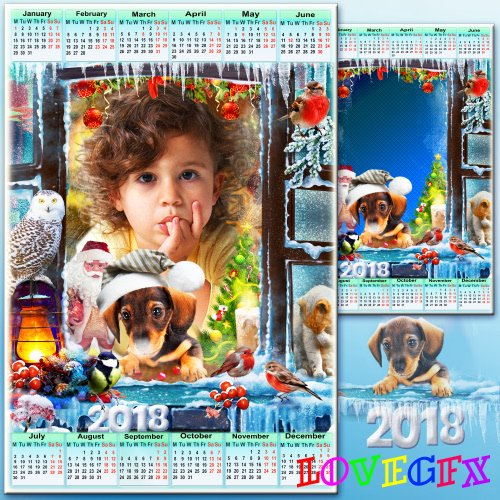 New Year's calendar with a frame for 2018 - Dream about a miracle on Christmas night