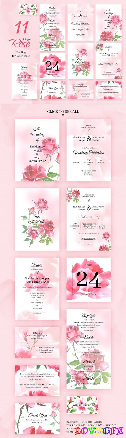 Rose Wedding Invitation Package 2219020
