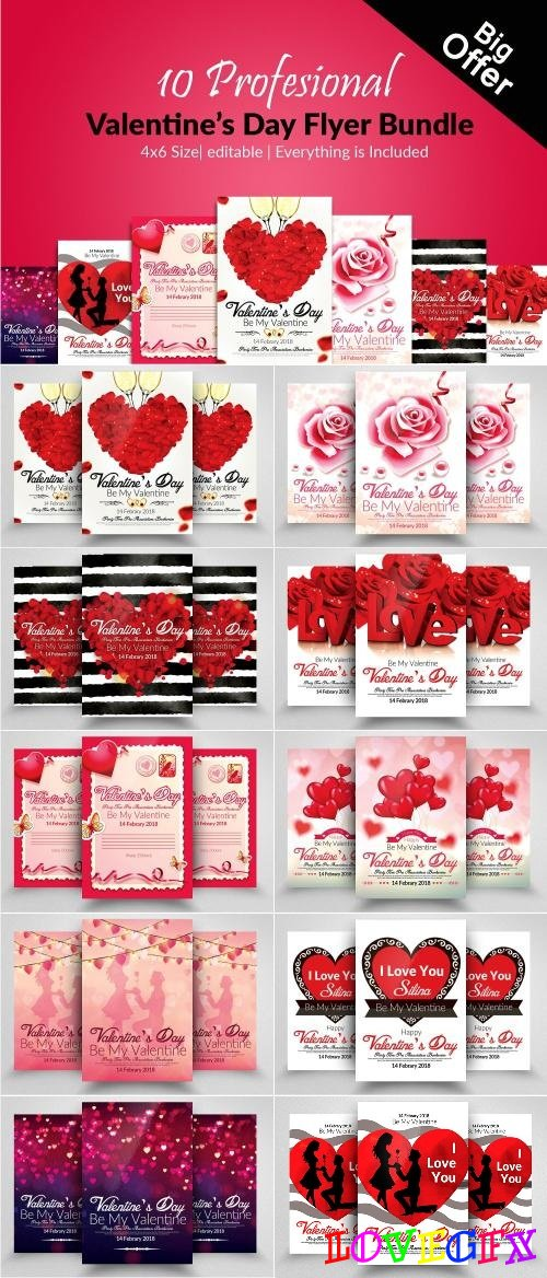10 Valentines Day Flyer Bundle - 2173339