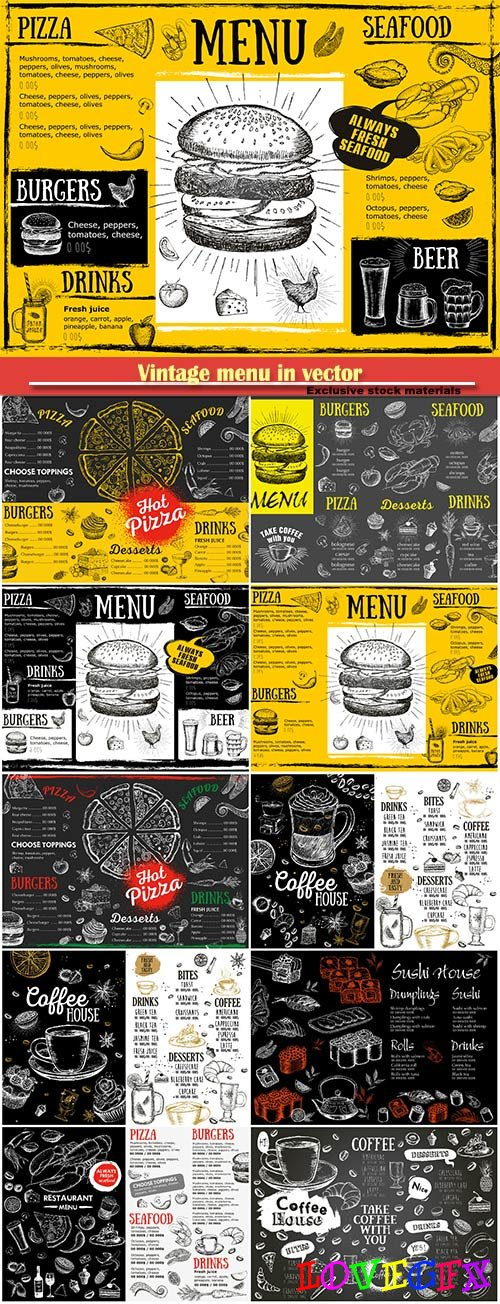 Vintage menu in vector, drinks, fast food, coffee