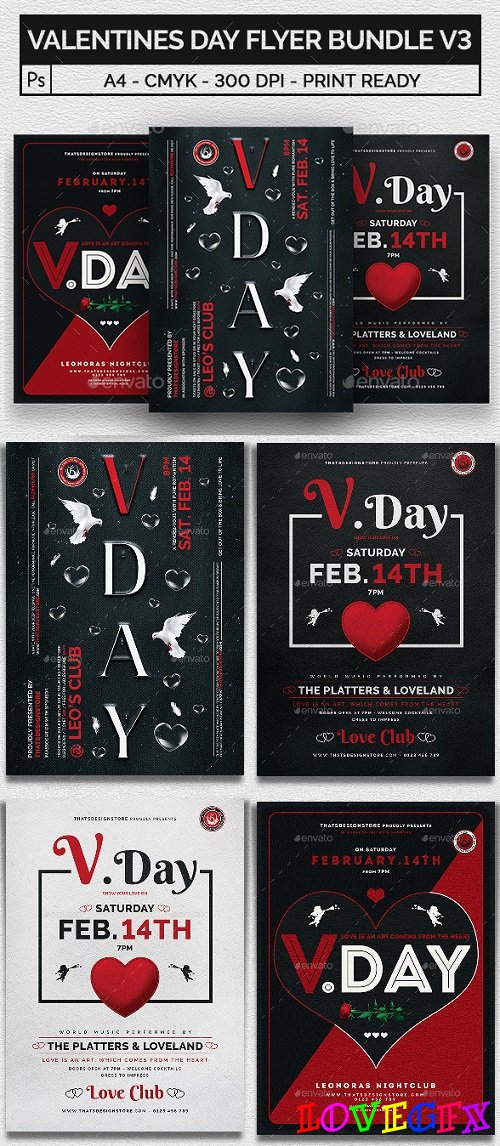 Valentines Day Flyer Bundle V3 - 21241412