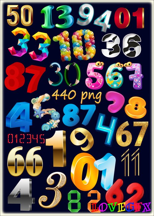 PNG clipart on a transparent background - 44 of set of decorative numbers