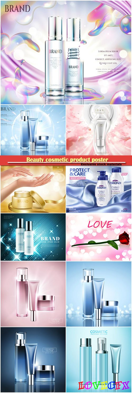 Beauty cosmetic product poster, body care product, background in 3d illustration