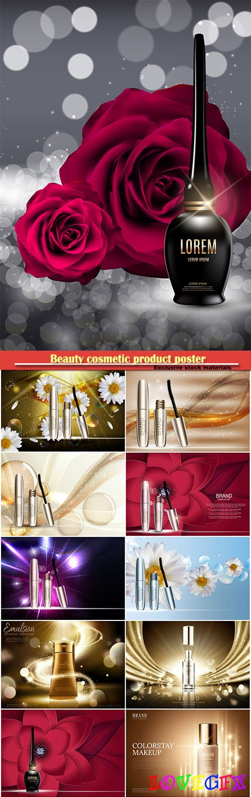 Beauty cosmetic product poster, fashion design makeup cosmetics, background in 3d illustration