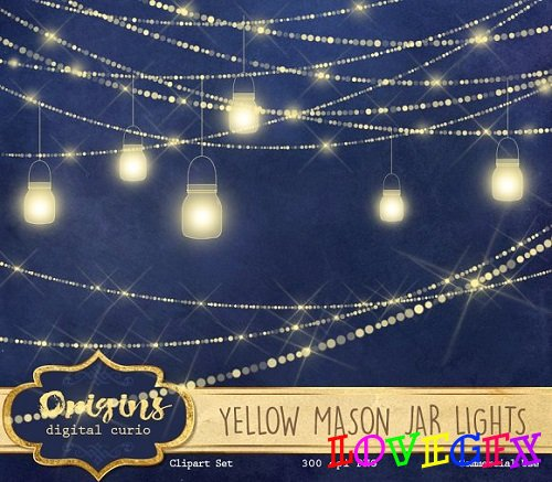 Yellow Mason Jar Lights - 1669783