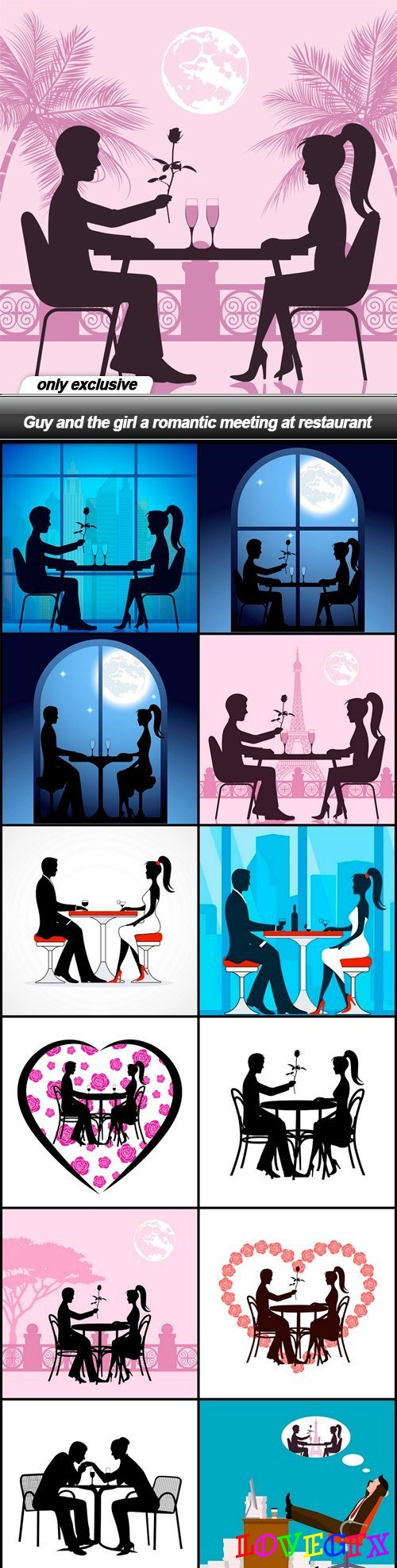 Guy and the girl a romantic meeting at restaurant - 13 EPS