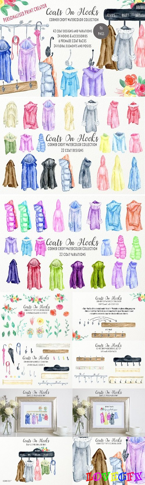 Watercolor Coats and Hooks - 2349304