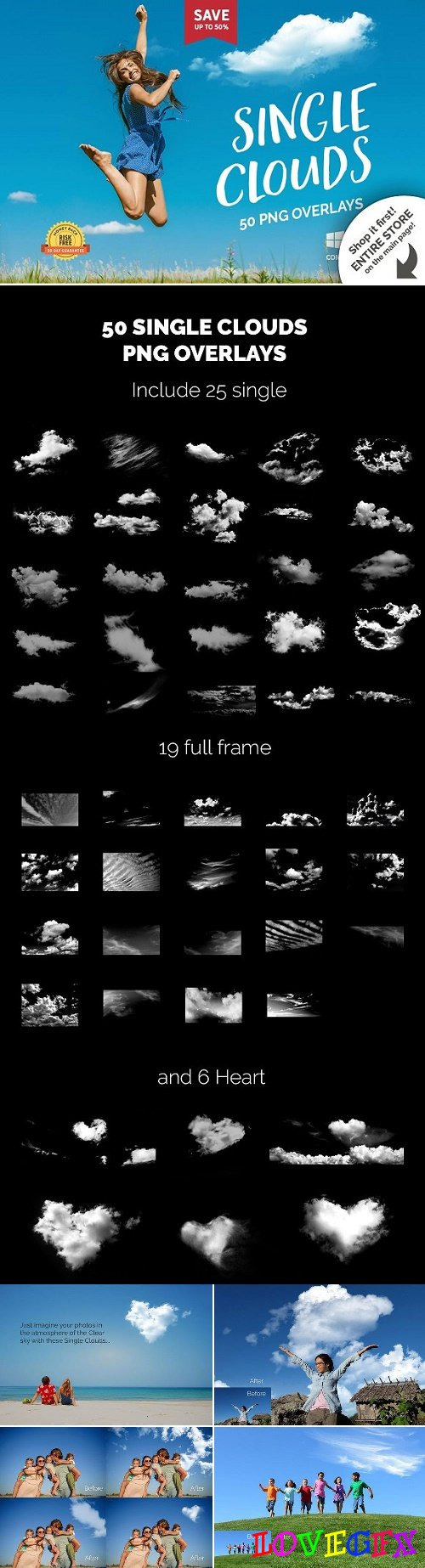 50 Single Clouds Photo Overlays 2321313