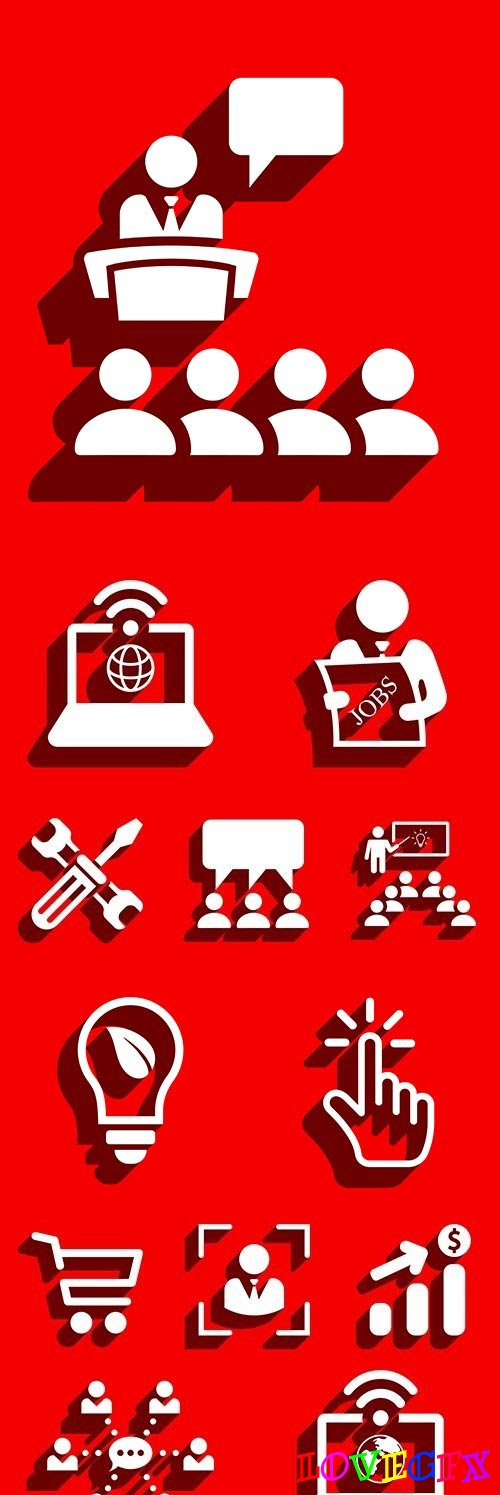 Business information icons on red background design