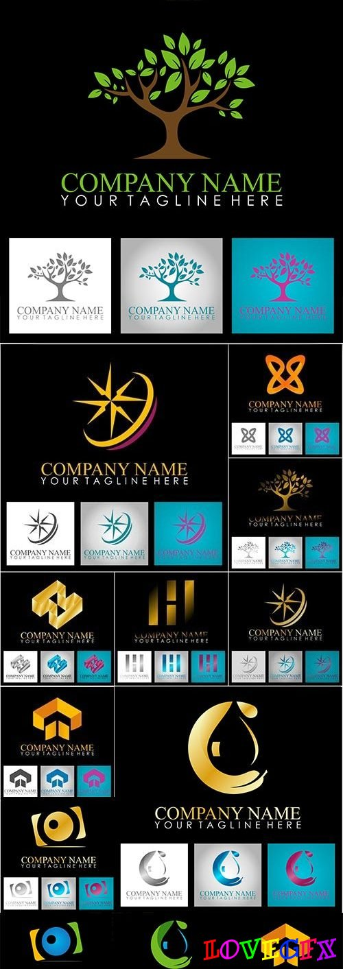 Business logos abstract design collection 25