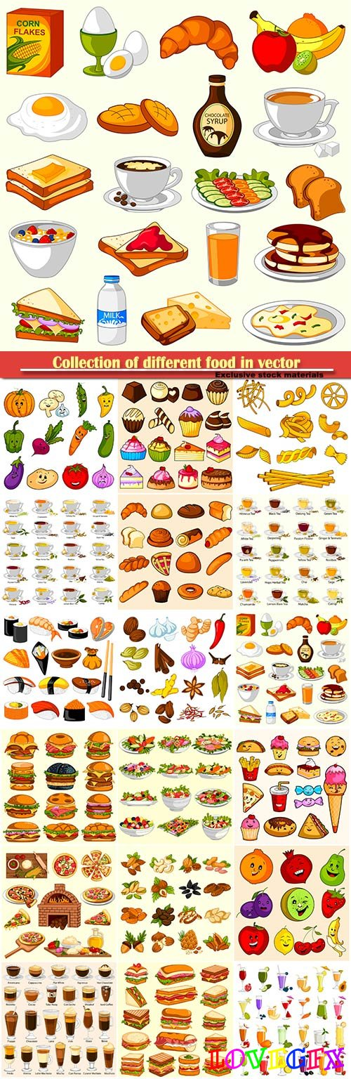Collection of different food in vector, sweets, drinks, fast food, vegetables, fruits