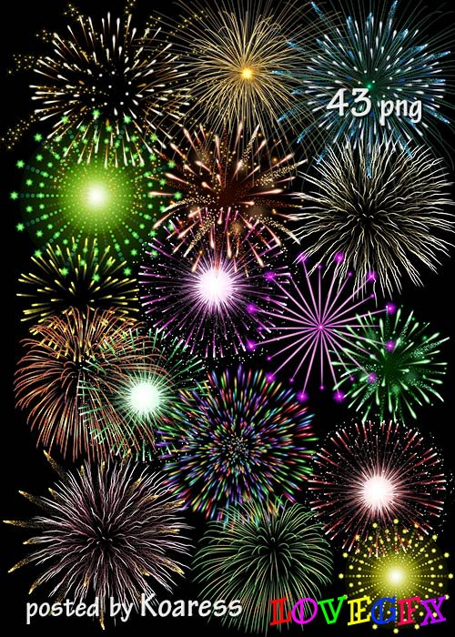 Clipart png on a transparent background - fireworks - part 2