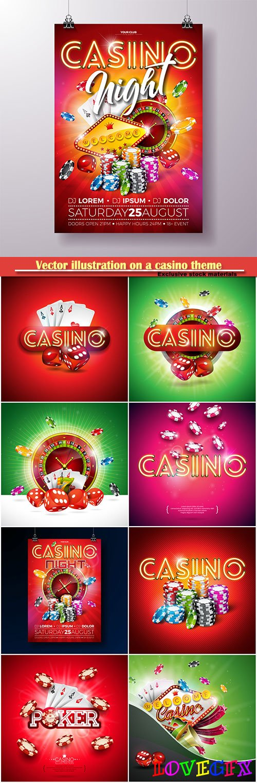 Vector illustration on a casino theme, gambling design for invitation or promo banner