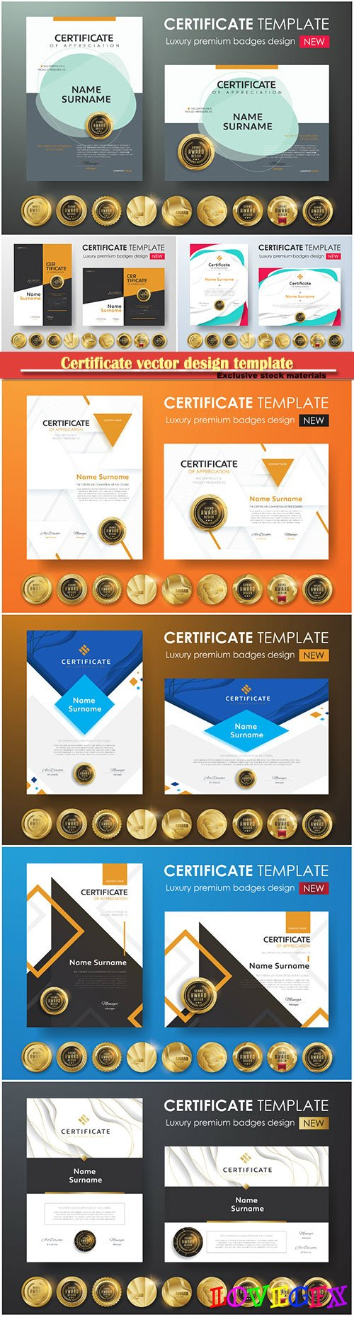 Certificate and vector diploma design template # 64