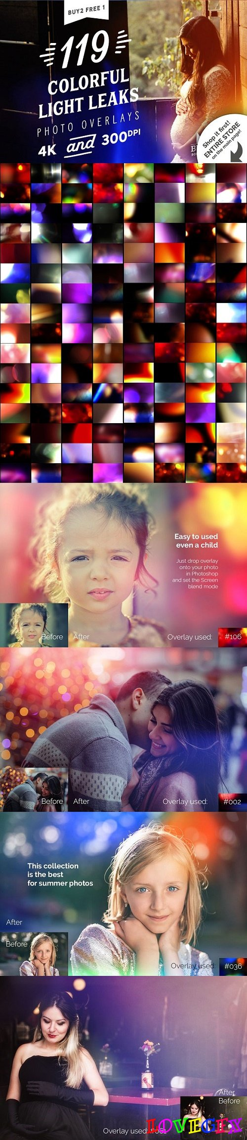 119 Colorful Light Leaks Overlays 2059703