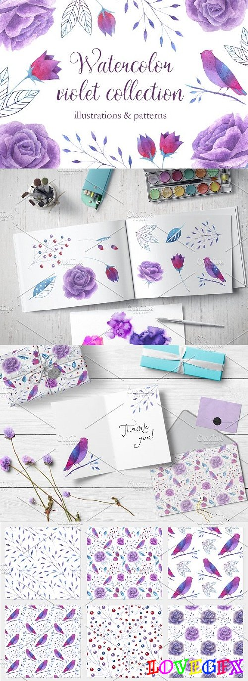 Watercolor violet collection - 2514412