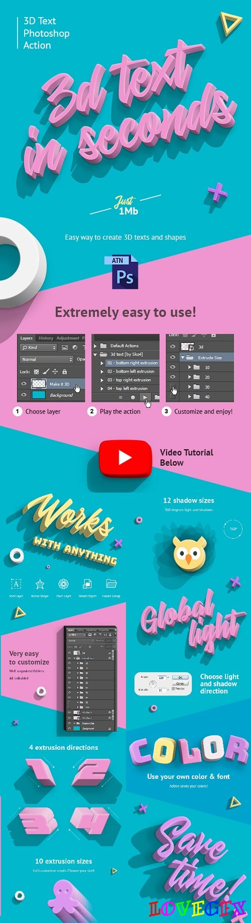 3D Text - PS Action 22064329
