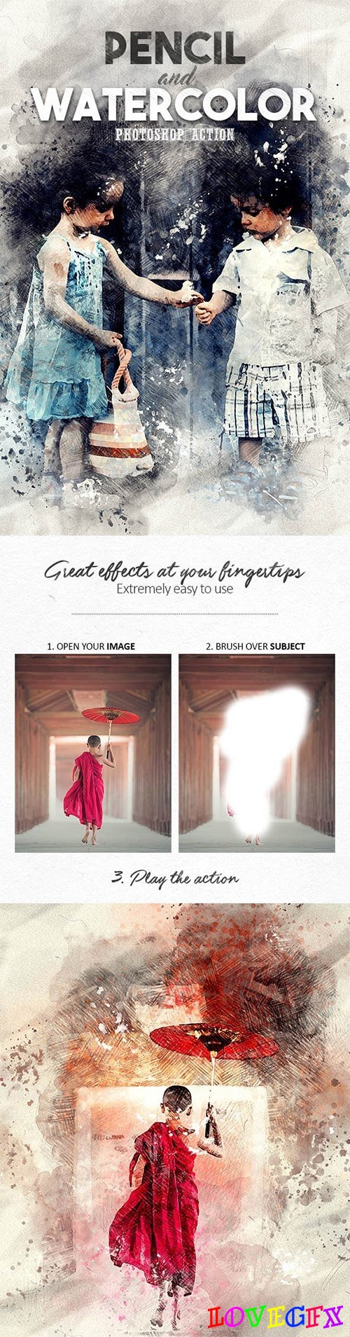 Pencil n Watercolor Photoshop Action - 19586973