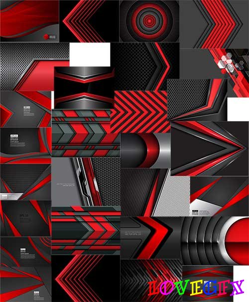 Black and red - Backgrounds in vector