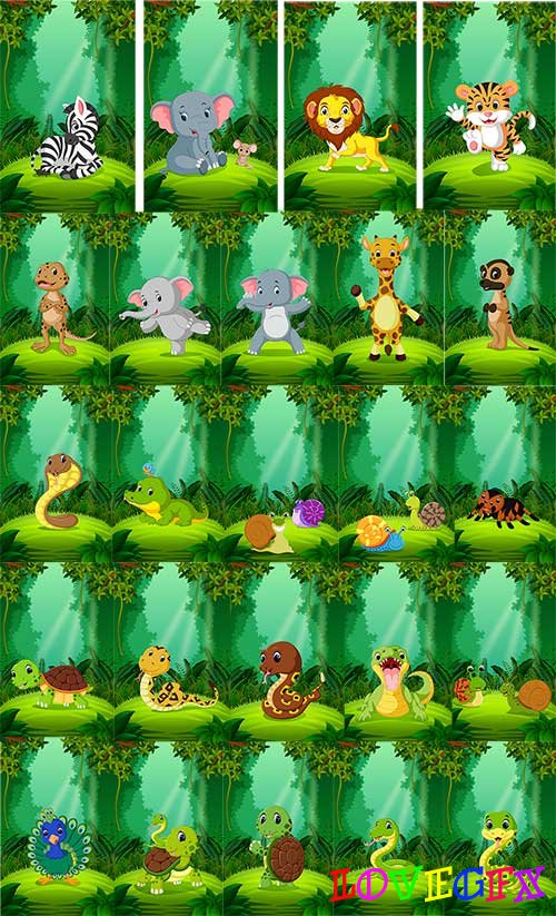 Animals in the rainforest - Vector