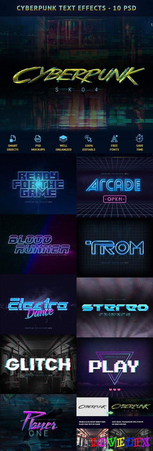 Cyberpunk Text Effects - 10 PSD 22323430