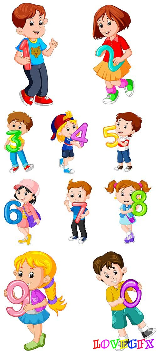 Children with numbers in vector