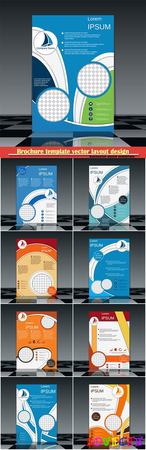 Brochure template vector layout design, corporate business annual report, magazine, flyer mockup # 219