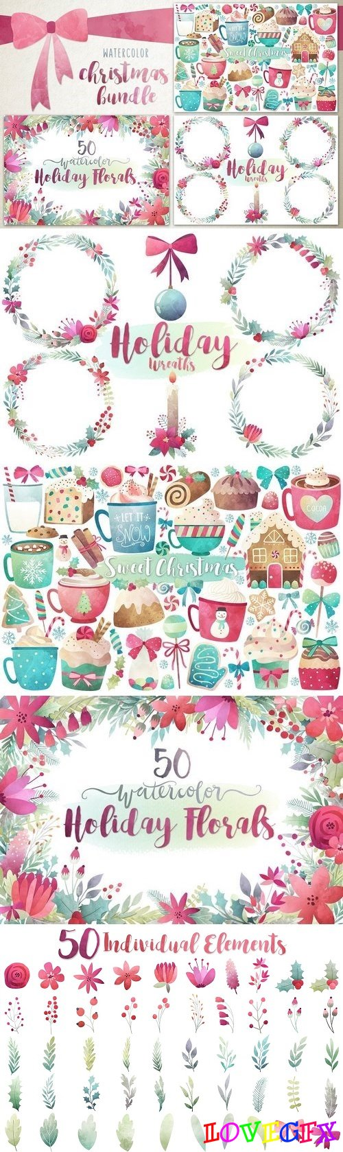 Watercolor Christmas Bundle - 1058759