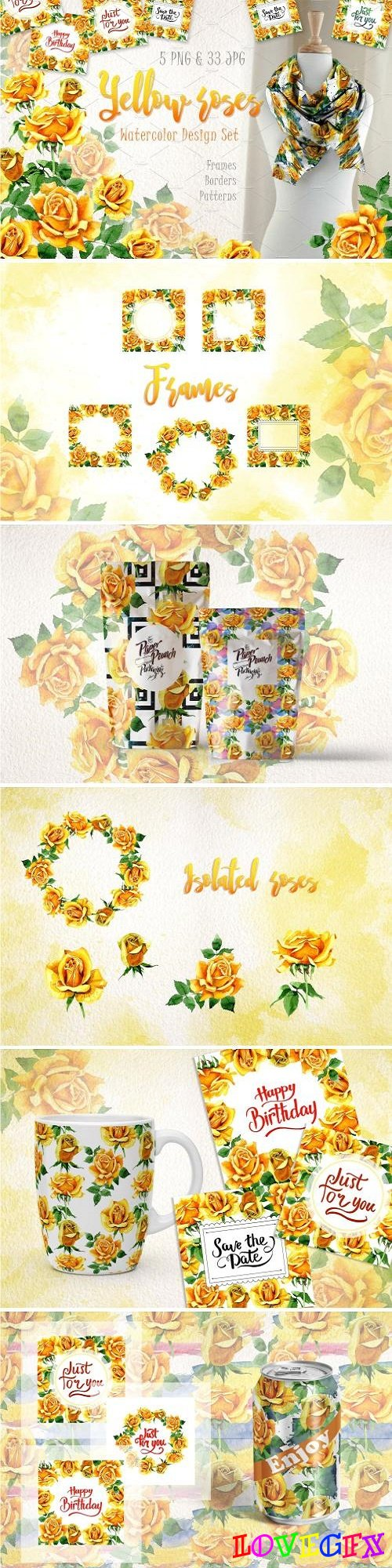 Yellow Roses PNG watercolor set 2888879