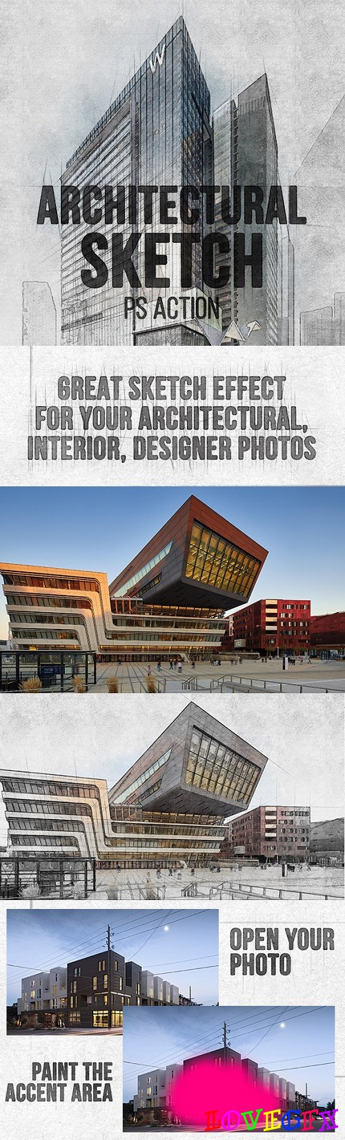 Architectural Sketch Photoshop Action 22535007