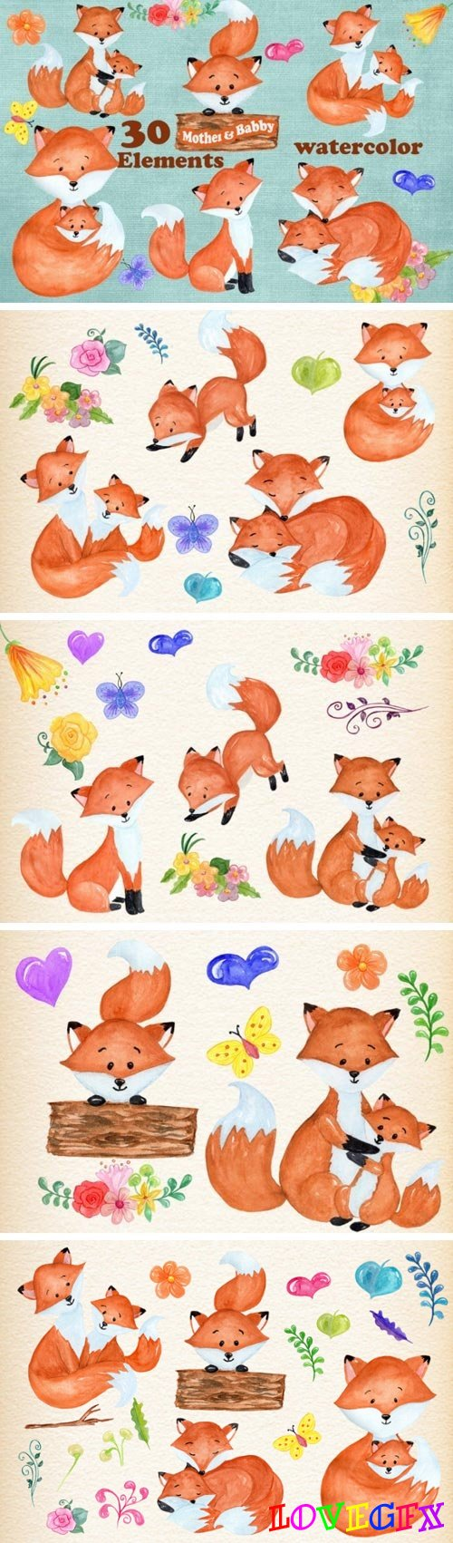 30 Mother & Baby Fox Clipart Designs