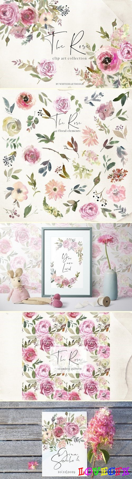 The Rose Watercolor Floral Clipart - 2888705