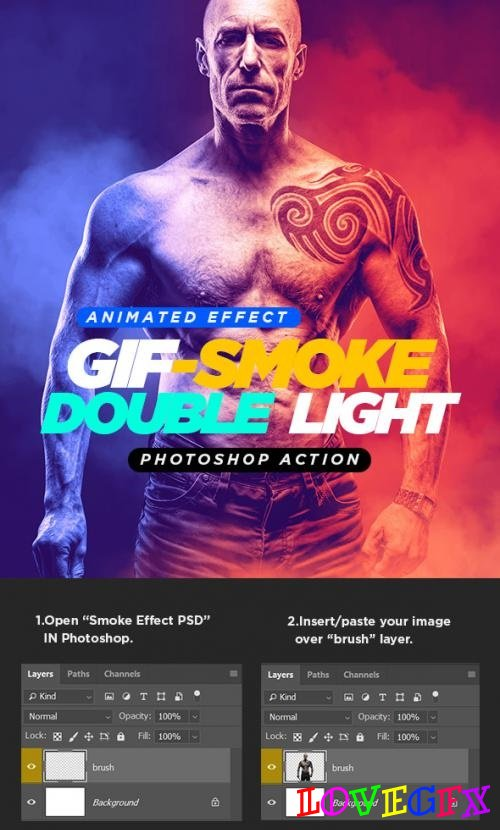 Gif Animated Smoke Double Lighting Photoshop Action - 21838009